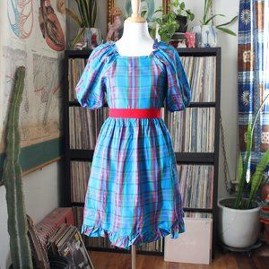 plaid taffeta dress with puff sleeves xs or youth